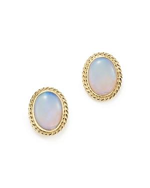 Opal Bezel Set Small Stud Earrings in 14K Yellow Gold