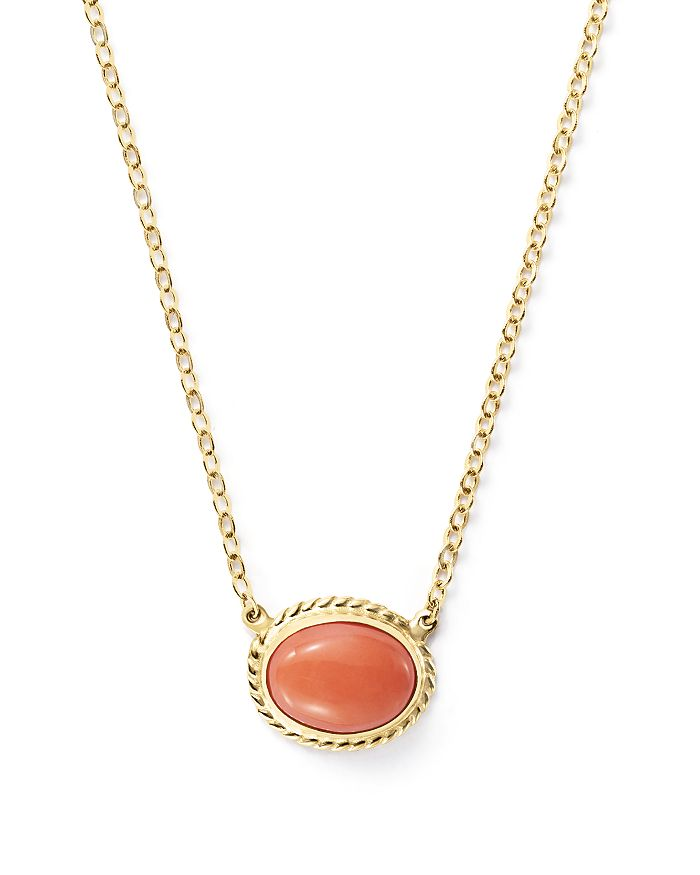 """Bloomingdale's - Coral Bezel Set Pendant Necklace in 14K Yellow Gold, 18""""- 100% Exclusive"""