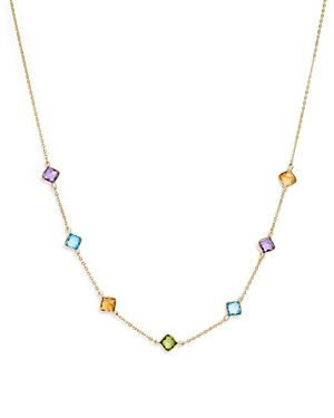 Multi Gemstone Station Necklace in 14K Yellow Gold, 18 - 100% Exclusive