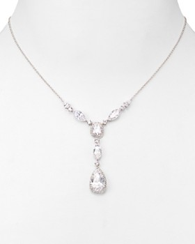 Nadri - Pear Shaped Drop Lariat Necklace, 16""