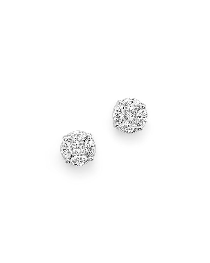 Roberto Coin - 18K White Gold Stud Earrings with Diamonds, .64-3.39 ct. t.w.