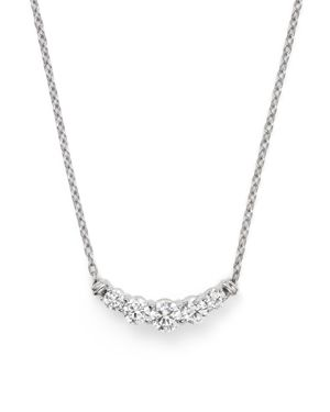 Diamond Five Stone Graduated Pendant Necklace in 14K White Gold, .50 ct. t.w. - 100% Exclusive