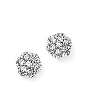 Diamond Flower Cluster Stud Earrings in 14K White Gold, 1.0 ct. t.w. - 100% Exclusive