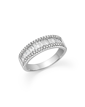 Round and Baguette Diamond Band in 14K White Gold, .75 ct. t.w. - 100% Exclusive