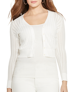 Lauren Ralph Lauren Plus Cropped Pointelle Cardigan