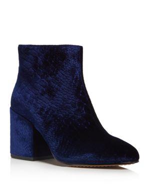 French Connection Dilyla Croc Embossed Velvet Block Heel Booties