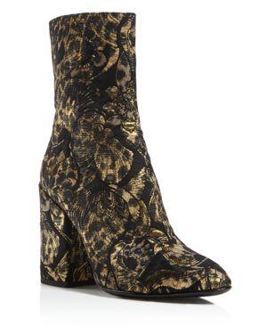 Ash Flora Embroidered Block Heel Booties