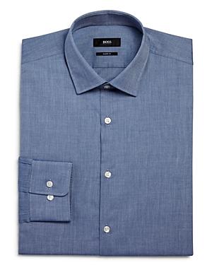 Boss Chambray Solid Sharp Fit Regular Fit Dress Shirt