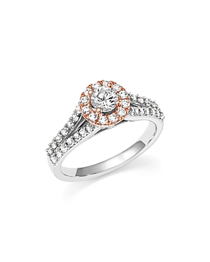 Click here for Diamond Halo Engagement Ring in 14K White and Rose... prices