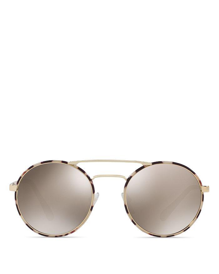 a10afe8f0eb08 Prada Women s Catwalk Mirrored Brow Bar Round Sunglasses