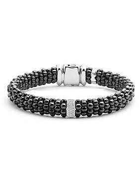 LAGOS - Black Caviar Ceramic Bracelet with Sterling Silver and 1 Diamond Bar