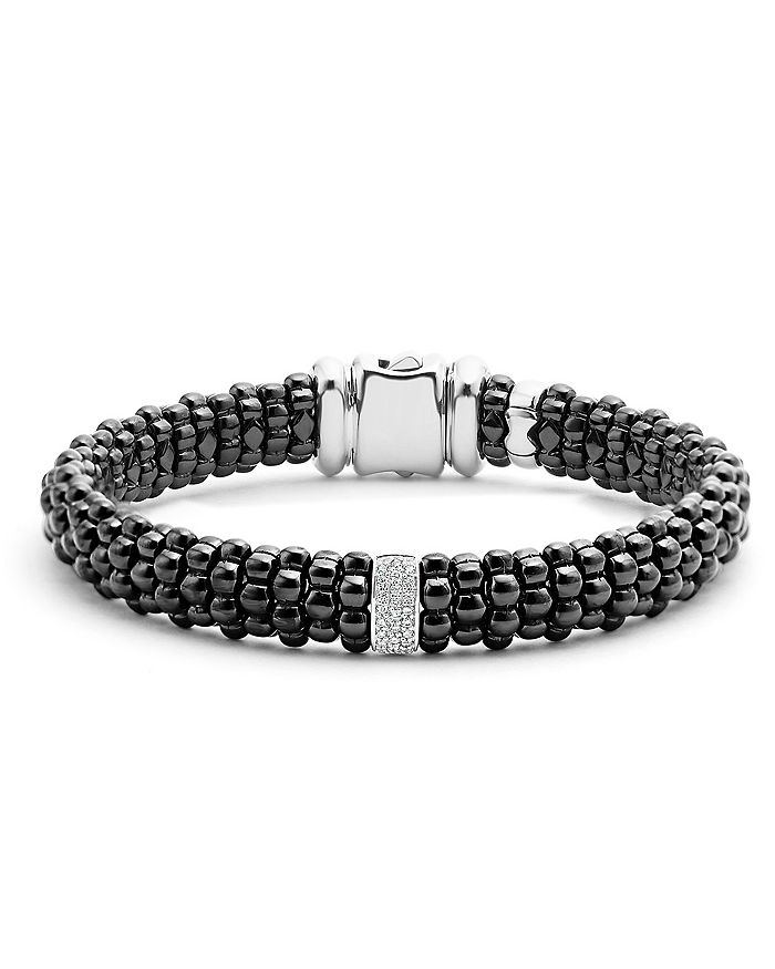 Lagos BLACK CAVIAR CERAMIC BRACELET WITH STERLING SILVER AND 1 DIAMOND BAR