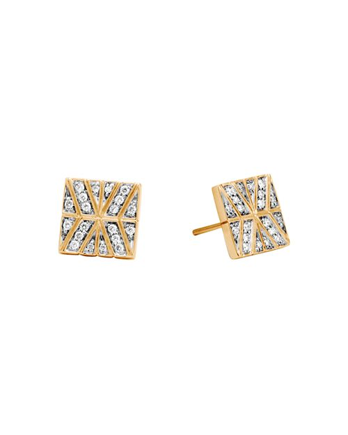 JOHN HARDY - 18K Yellow Gold Modern Chain Stud Earrings with Diamonds