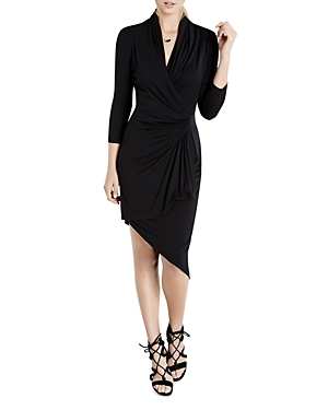 Karen Kane Asymmetric Cascade Faux Wrap Dress