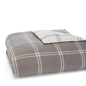 Ugg Grey Reversible Flannel Windowpane Duvet Cover, Queen