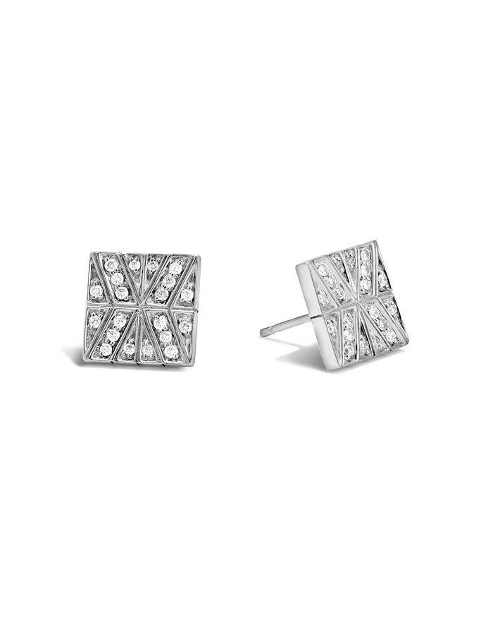 JOHN HARDY - Sterling Silver Modern Chain Stud Earrings with Diamonds