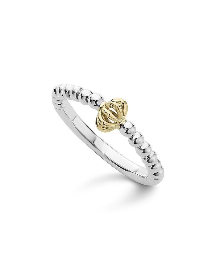 LAGOS - Caviar Icon 18K Gold and Sterling Silver Fluted Bead Stacking Ring