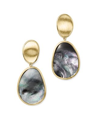 18K Yellow Gold Lunaria Black Mother-Of-Pearl Double Drop Earrings, Grey Mother Of Pearl