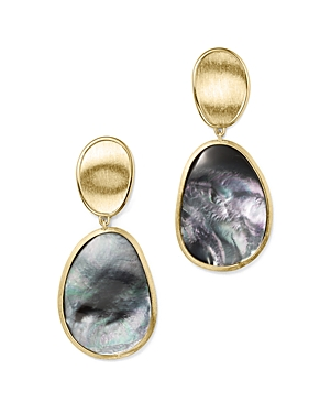 Marco Bicego 18K Yellow Gold Lunaria Black Mother-Of-Pearl Double Drop Earrings