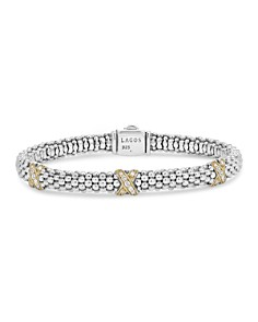 LAGOS - Sterling Silver & 18K Yellow Gold Caviar Diamond Station Rope Bracelet