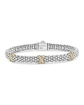 LAGOS - Sterling Silver & 18K Yellow Gold Caviar Diamond Station Rope Bracelet