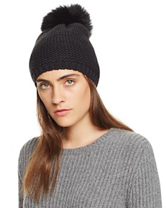 Kyi Kyi Slouchy Hat with Fox Fur Pom-Pom - 100% Exclusive - Bloomingdale's_0
