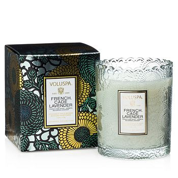 Voluspa - Japonica French Cade & Lavender Embossed Glass Scalloped Edge Candle