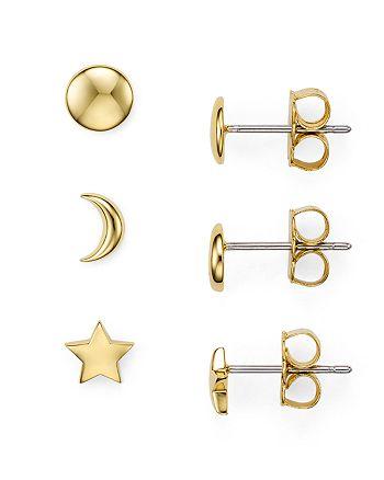 Nadri - Star Moon Stud Earrings, Set of 3 Pairs