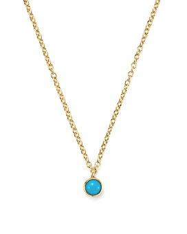 "Zoë Chicco - 14K Yellow Gold Single Bezel Turquoise Necklace, 14"""