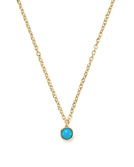 Zoë Chicco - 14K Yellow Gold Single Bezel Turquoise Necklace, 14""