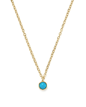 Zoe Chicco 14K Yellow Gold Single Bezel Turquoise Necklace, 14-Jewelry & Accessories