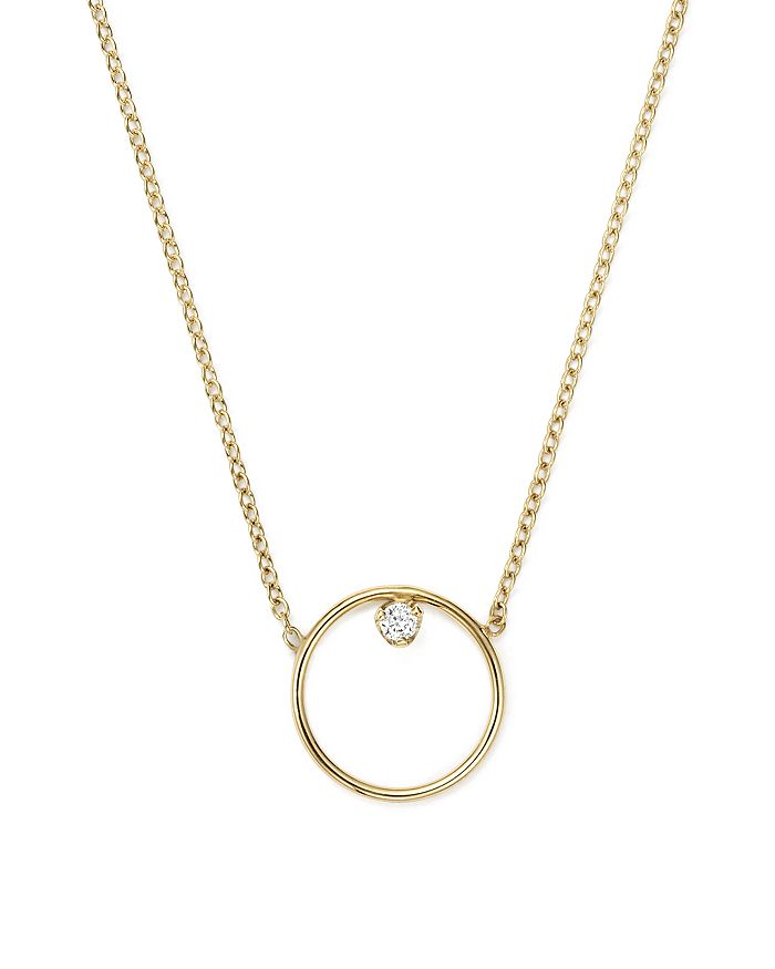 Zoë Chicco - 14K Yellow Gold Paris Small Circle Diamond Necklace, 15""