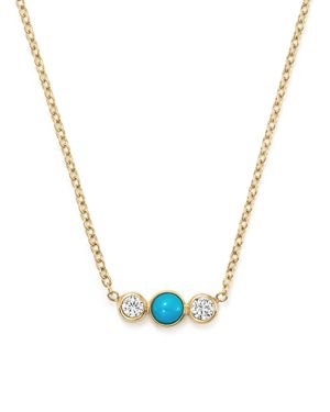 Zoe Chicco 14K Yellow Gold Bar Necklace with Bezel Set Turquoise and Diamonds, 15
