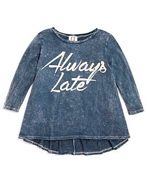 Ppla Girls Acid Washed Always Late Tee  Sizes Sl