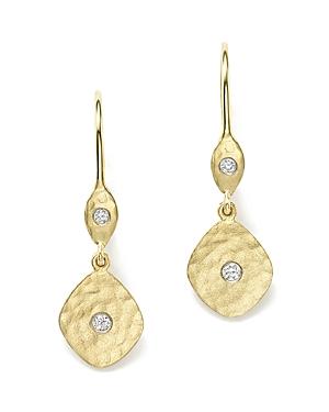 14K Yellow Gold Kite Disc Earrings with Diamonds