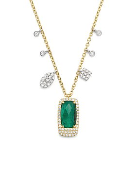"""Meira T - 14K White and Yellow Gold Emerald Pendant Necklace with Diamonds, 16"""""""