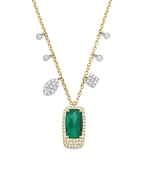 Meira T 14K White and Yellow Gold Emerald Pendant Necklace with Diamonds, 16-Jewelry & Accessories