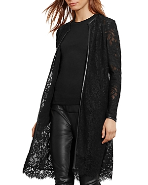 Lauren Ralph Lauren Faux Leather Trimmed Lace Jacket