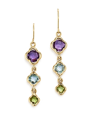 Multicolored Gemstone Triple Clover Drop Earrings in 14K Yellow Gold - 100% Exclusive