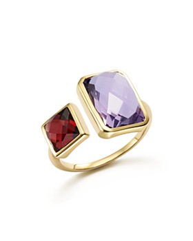 Bloomingdale's - Amethyst and Garnet Square Side by Side Ring in 14K Yellow Gold - 100% Exclusive