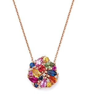 "Bloomingdale's - Multi Sapphire and Diamond Cluster Pendant Necklace in 14K Rose Gold, 16"" - 100% Exclusive"
