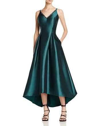 1164a46ec28 Carmen Marc Valvo Infusion Mikado V-Neck High/Low Gown | Bloomingdale's