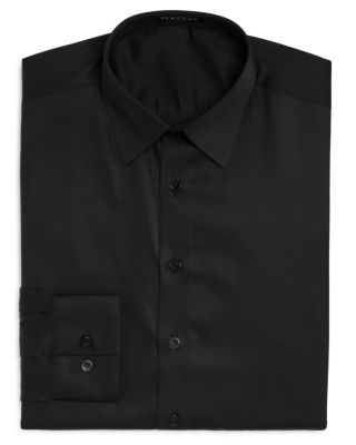 VARDAMA Astor Place Solid Stain Resistant Regular Fit Dress Shirt in Black