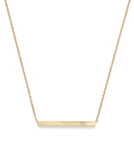 """Zoë Chicco - 14K Yellow Gold Bar Necklace with Diamond, 16"""""""