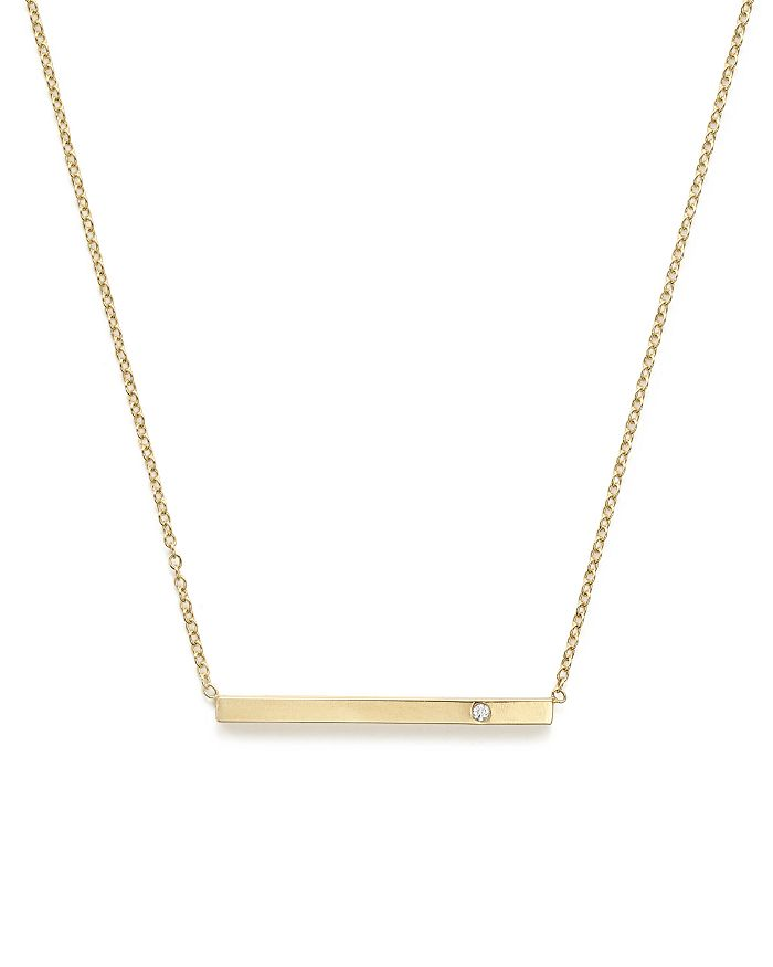 Zoë Chicco - 14K Yellow Gold Bar Necklace with Diamond, 16""