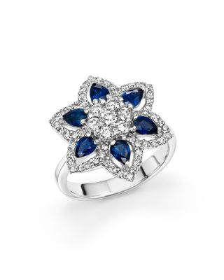 SAPPHIRE AND DIAMOND FLOWER RING IN 14K WHITE GOLD - 100% EXCLUSIVE