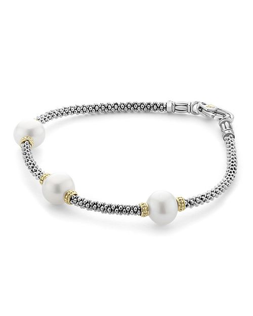 LAGOS - 18K Gold and Sterling Silver Luna Rope Bracelet with Cultured Freshwater Pearls
