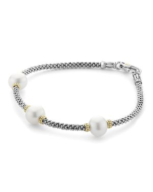 Lagos 18K Gold and Sterling Silver Luna Rope Bracelet with Cultured Freshwater Pearls