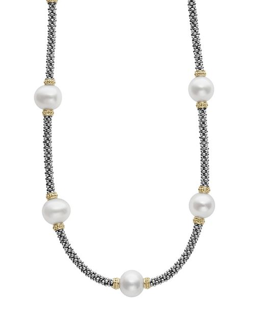 """LAGOS - 18K Gold and Sterling Silver Luna Rope Necklace with Cultured Freshwater Pearls, 16"""""""