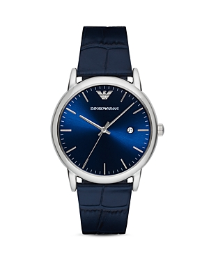 Emporio Armani Crocodile-Embossed Leather Strap Watch, 43mm